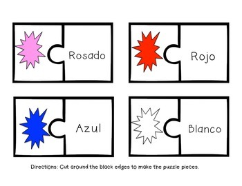Spanish Colors Matching Game (Puzzle Piece Printable)