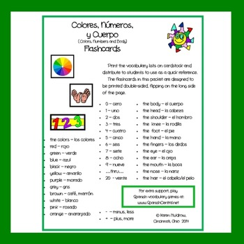 Spanish - Colors, Numbers and Body Flashcards