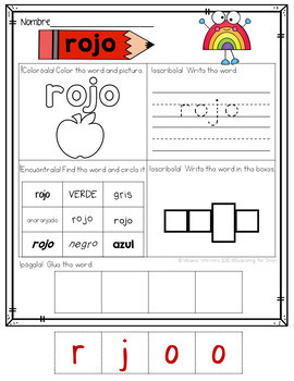 Spanish Colors Printables and Activities