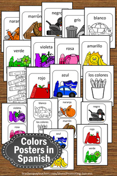 Printable Spanish Colors Posters, 2 Sizes, Spanish Color Words, los colores SPS