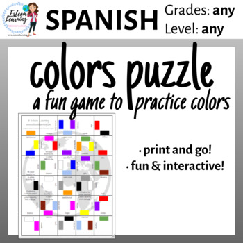 Printable Colors Puzzle Game - Spanish