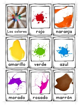 Spanish Colors Vocabulary Posters & Flip Cards - FREEBIE