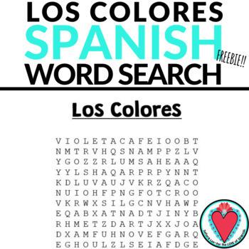 Spanish Colors WORD SEARCH Los Colores en Español