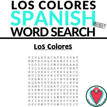 Spanish Colors WORD SEARCH Los Colores