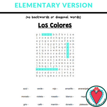 Spanish Colors WORD SEARCH - Easy Spanish Sub Plans #COVID19WL
