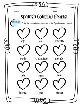 Spanish Colors Worksheet