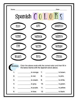 spanish colors worksheet packet by sunny side up resources tpt. Black Bedroom Furniture Sets. Home Design Ideas
