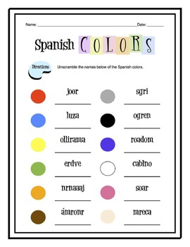 Spanish Colors Worksheet Packet