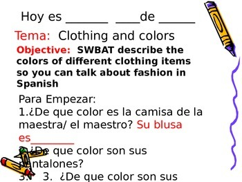 Spanish Colors and Clothing