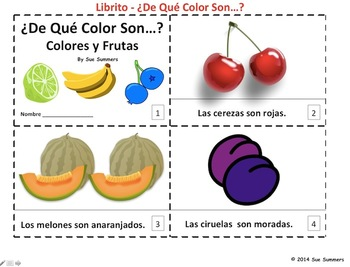 Spanish Colors and Fruit Plurals 2 Emergent Readers - Colores y Frutas
