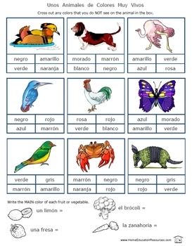 Spanish Colors worksheets