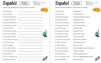 Spanish Commands: 18 Negative Informal Tú Commands