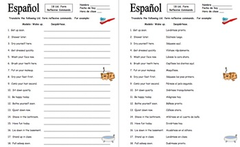 Spanish Commands 18 Ud. Form Reflexive Commands