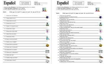 Spanish Commands 18 Ud. Form Sentence Translations with Adverbs