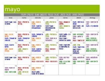 Spanish Commands Calendar Activity