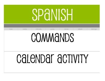 Spanish Commands Calendar Activity