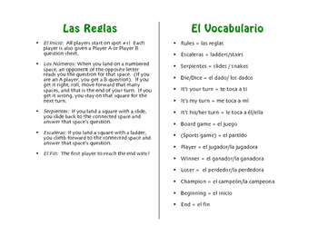 Spanish Commands Chutes and Ladders-Style Game