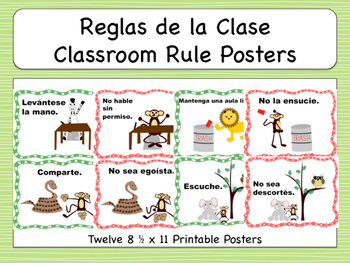 spanish commands classroom rule signs reglas de la clase
