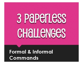Spanish Commands Paperless Challenges