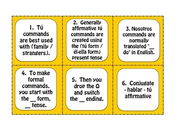 Spanish Commands Task Cards