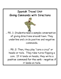 Spanish Commands Travel Unit Giving Directions Activities