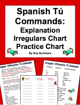 Spanish Commands Tu Affirmative Reference, Irregulars, and Practice Chart