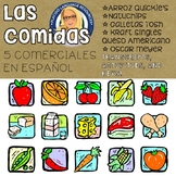 Five Spanish Commercials with activities: Comidas / Foods