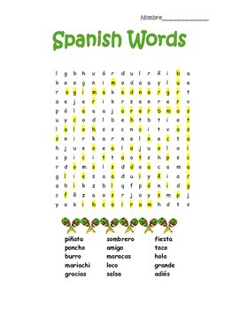 Spanish Borrowed Words Search Puzzle