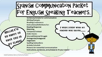 Spanish Communication Packet for English Speaking Teachers