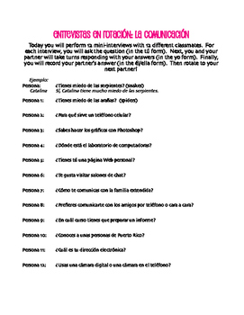 Spanish Communication Rotating Interviews