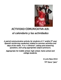 Spanish Communicative Activity - Activities & Calendar