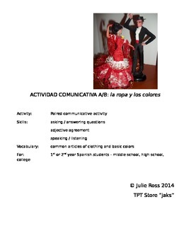 Spanish Communicative Activity - Clothing & Colors