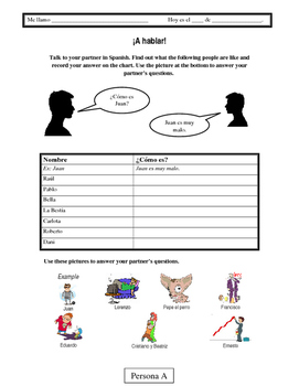 Spanish Communicative Activity: Describing People