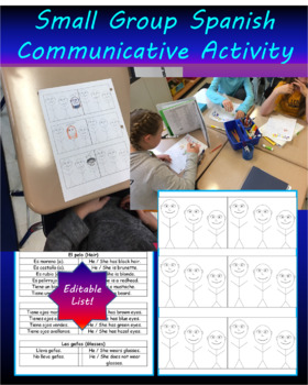Spanish Communicative Activity- Physical Characteristics (EDITABLE vocab. page)