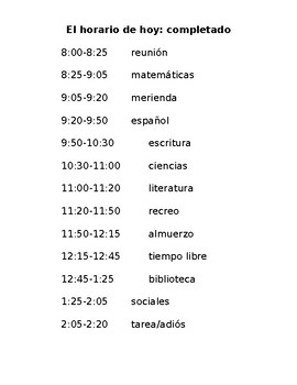 Spanish Communicative Activity: Time & School Subjects / Class Schedule /Horario