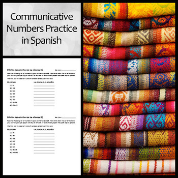 Spanish Communicative Number Practice Activity