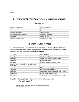 Spanish Communicative Tasks with GUSTAR and Winter Activities