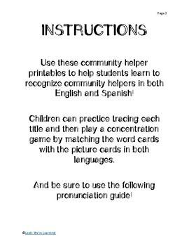 Spanish Community Helpers Printables - ¡La Communidad!