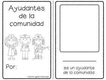 graphic regarding Community Helpers Printable Book named Spanish Area Helpers System for Preschool, Kindergarten, or 1st Quality