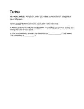 Spanish Community Places Vocabulary Sheet & Follow-Up