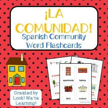 Spanish Community Word Flashcards - ¡La Comunidad!
