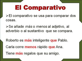 Spanish Comparative and Superlative, Examples and Activities (ppt)