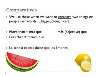 Spanish Comparatives and Superlatives Notes