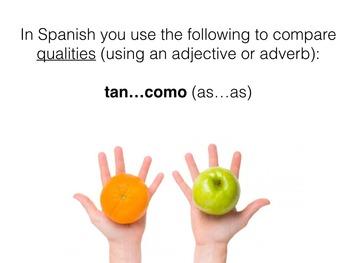 Spanish Comparing Quantities & Qualities Keynote Slideshow for Mac