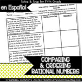 Spanish Comparing and Ordering Rational Numbers Solve and Snip