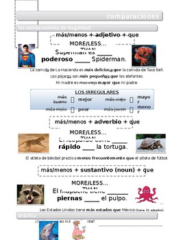 Spanish Comparisons Guided Notes/Handout