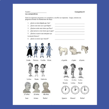 Spanish Comparisons Los comparativos Speaking and Listening Activities
