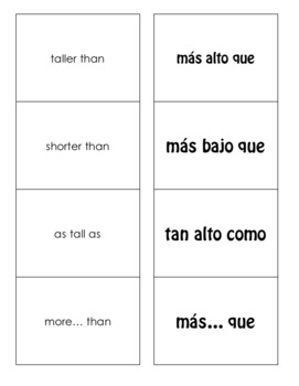 Spanish Comparisons Matching Game