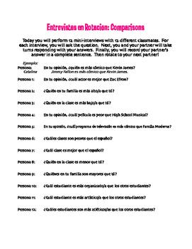 Spanish Comparisons Rotating Interviews