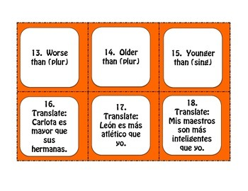 Spanish Comparisons Task Cards